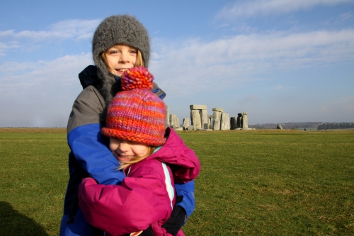 Eli and Finley Hugging At Stonehenge