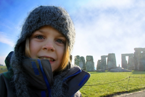 Eli wearing a knit hat at Stonehenge