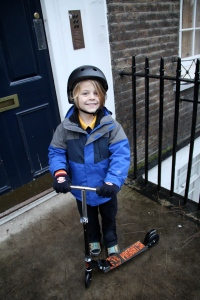 Eli's first day of school in England.