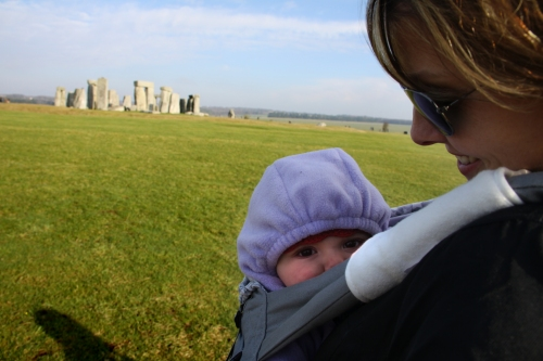 Sawyer in a sling at Stonehenge