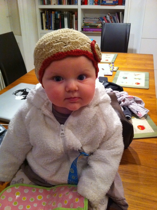 Sawyer in coat and knit hat