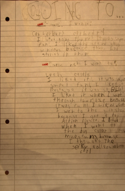 A page of Eli's homework