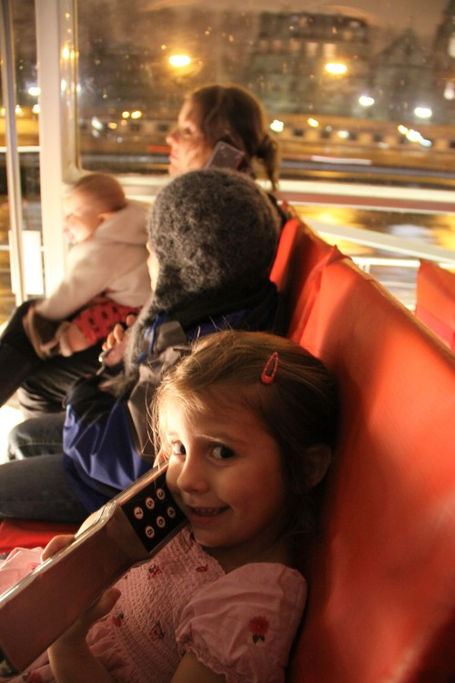 Kids and Lana on Night Tour of the Seine