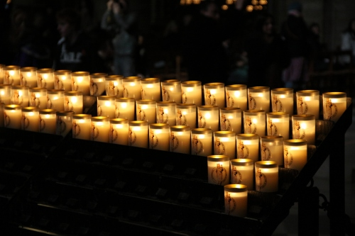 A Rack of Votives at Notre Dame
