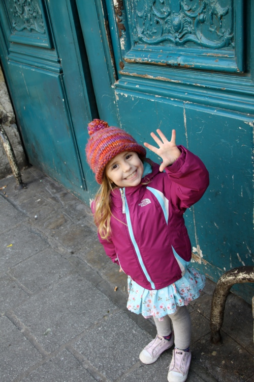 Finley Against a Turquoise Door in the Marais