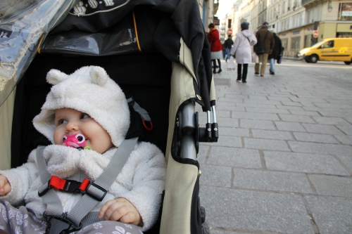 Sawyer in Her Stroller In the Marais